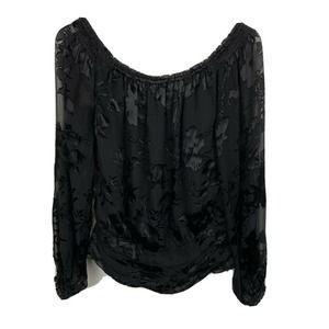 White House Black Market Blouse Black Floral Silk